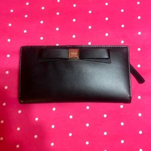 Kate Spade Black Leather Bow Long Wallet
